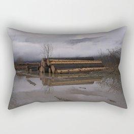 Timber Logs With A Foggy Mountain View Rectangular Pillow