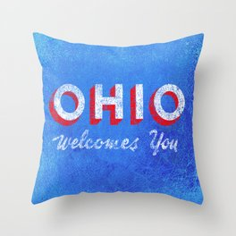 Vintage Ohio Welcome Sign Throw Pillow