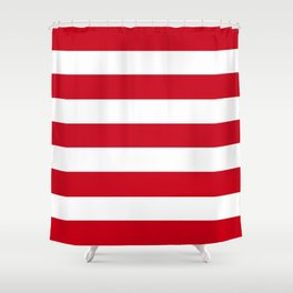 Harvard crimson - solid color - white stripes pattern Shower Curtain