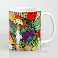 vegetable Mugs featuring Vegetable market by Bozena Wojtaszek