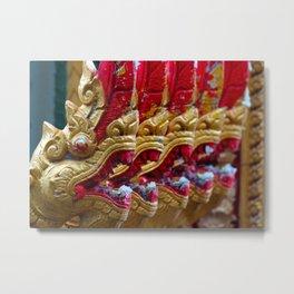 Temple Dragons Vientiane Laos Metal Print