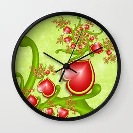 Red Hearts Fractal Wall Clock