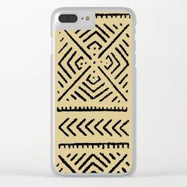 Line Mud Cloth // Tan Clear iPhone Case