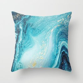 Blue & Gold Paint Swirls Throw Pillow