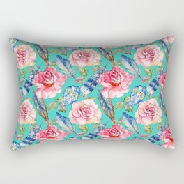 Hand painted blush pink blue turquoise watercolor boho roses floral Rectangular Pillow