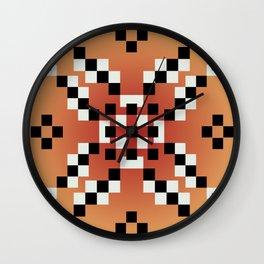 Binary Flower Orange Wall Clock