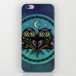 A Perfect Pair Of Midnight Moonlit Owls iPhone Skin