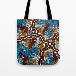 Authentic Aboriginal Art - Wetland Dreaming Tote Bag