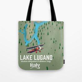 Lake Lugano Italy - Switzerland travel poster Tote Bag