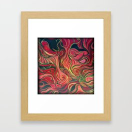 Abstract Red Gold and Black ~New Love Framed Art Print