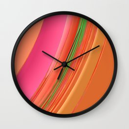 Peach Apricot Mango Bold Stripes Wall Clock