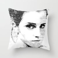 emma watson Throw Pillows featuring Emma Watson Typography by Christian Gholson