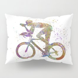Cyclist competing 01 in watercolor Pillow Sham