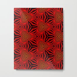 Geometric Red And Black Optical Illusion Metal Print