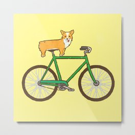 Corgi on a bike Metal Print