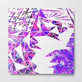 Girly Pink Violet and White Fragmented Geometric Metal Print