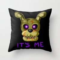 fnaf Throw Pillows featuring FNAF Springtrap by Bloo McDoodle