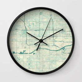 Phoenix Map Blue Vintage Wall Clock