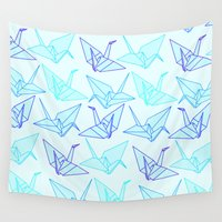origami Wall Tapestries featuring Origami by StudioBlueRoom