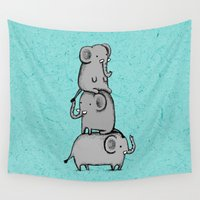 totem Wall Tapestries featuring Elephant Totem by Sophie Corrigan