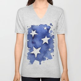 Stars Abstract Blue Watercolor Geometric Painting Unisex V-Neck