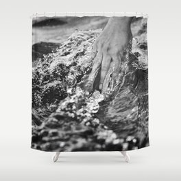 Running hand through the water, under the blue again black and white photograph / art photography Shower Curtain