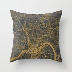 Cincinnati map Throw Pillow