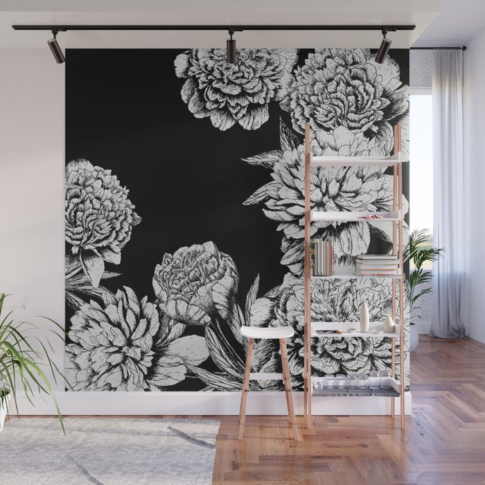 Flowers In Black And White Wall Mural By Magic Dreams
