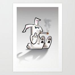 Smoking Bad Bunny Art Print