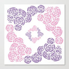 Purple and Pink Roses Doodle Art Canvas Print
