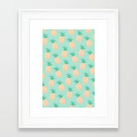 pineapple Framed Art Prints featuring Pineapple   by Sibylline