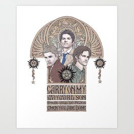 Carry On My Wayward Son (Castiel, Sam and Dean Winchester) Art Print