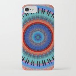 Orange Bright Blue Mandala Design iPhone Case