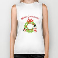 cartoons Biker Tanks featuring Festive Christmas Cartoons on Chevron Pattern by Kirsten Star