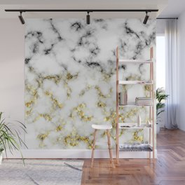 Black and white marble gold sparkle flakes Wall Mural