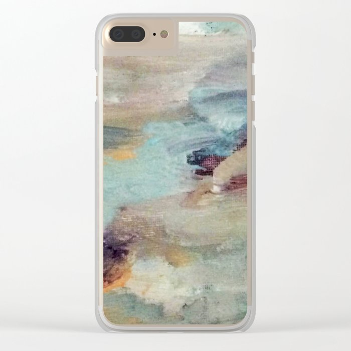 Gentle Beauty [5] - an elegant acrylic piece in deep purple, red, gold, and white Clear iPhone Case