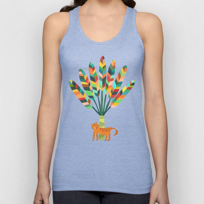 Whimsical travelers palm with tiger Unisex Tank Top