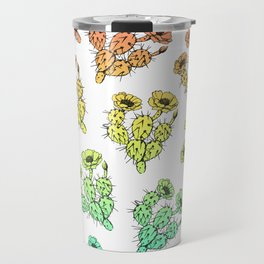 Modern abstract teal coral gradient floral cactus Travel Mug