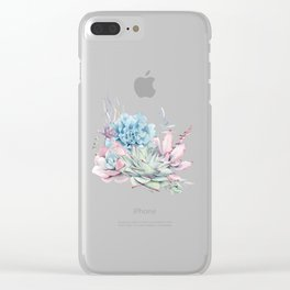 Succulents Pink Blue Green by Nature Magick Clear iPhone Case