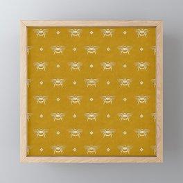 Bee Stamped Motif on Mustard Gold Framed Mini Art Print