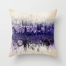 New York skyline drawing collage 2 Throw Pillow