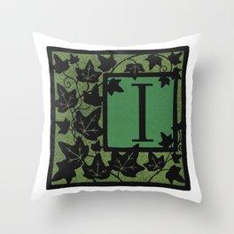 Letter I Alphabet Initial Monogram Ivy Silhouette Throw Pillow