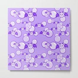 Bubbles and Bats Purple Metal Print