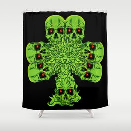 Skull Cloverleaf - St. Patrick's Day Shower Curtain