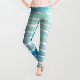 New Year Blue Water Lines Leggings