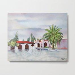 'Hacienda con fuente' landscape portrait by Antonio Ruiz Metal Print