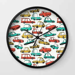 Retro Cars Pattern Wall Clock