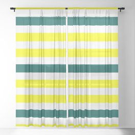Yellow Green Lines Sheer Curtain