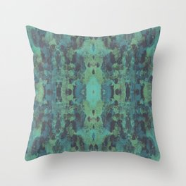 Sycamore Kaleidoscope - Graphite blue green Throw Pillow