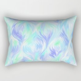 Preppy Blue Watercolor Abstract Ripples Rectangular Pillow
